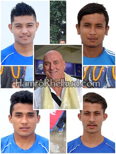 नवनियुक्त प्रशिक्षक प्याट्रिक सहित यु१९ टोलीका चार सदस्य भारत प्रस्थान